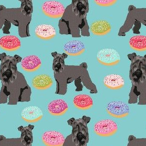 kerry blue terrier donut fabric - dog fabric, dogs and donuts fabric, dog breed fabric -  light blue