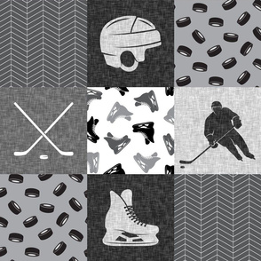 Ice Hockey Patchwork - Hockey Nursery - Wholecloth grey - LAD19
