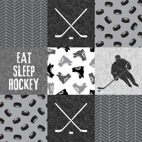 Eat Sleep Hockey - Ice Hockey Patchwork - Hockey Nursery - Wholecloth grey - LAD19