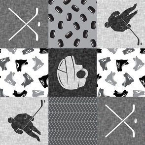 Ice Hockey Patchwork - Hockey Nursery - Wholecloth grey (90) - LAD19