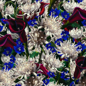 Profusion | Hand-Painted Flowers | Maroon+Blue+White+Green