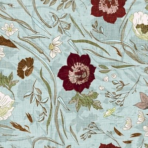 Noir Floral (duck egg blue) MED