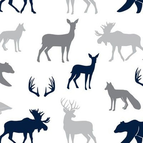 woodland animals - navy and grey on white LAD19