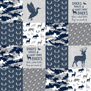 Ducks, Trucks, and Eight Point Bucks - Woodland wholecloth Camo - Navy LAD19