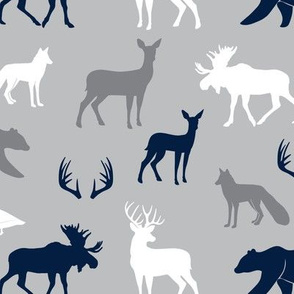 woodland animals - navy and grey LAD19