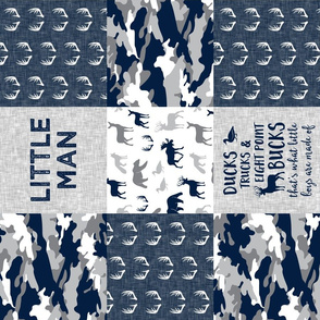 Little Man - Ducks, Trucks, and Eight Point Bucks - Woodland wholecloth Camo - Navy LAD19 (90)