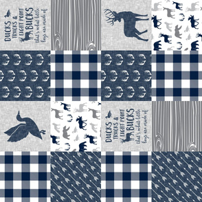 Ducks, Trucks, and Eight Point Bucks - Woodland wholecloth Plaid - Navy LAD19 (90)