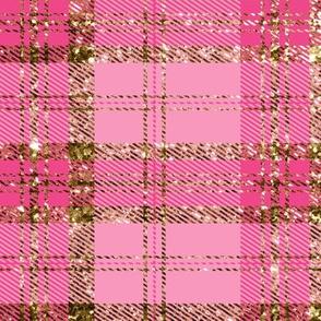 Pink and Gold Glitter Plaid Tartan