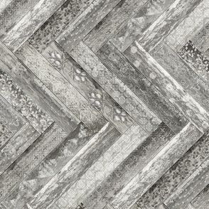 Vintage Wood Chevron Tiles Herringbone Grey Horizontal