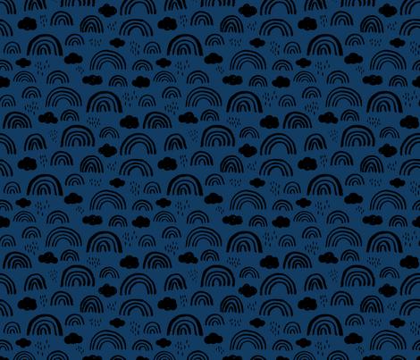 Scandinavian abstract rainbow clouds happy rain sky gender neutral dark navy blue fabric by littlesmilemakers on Spoonflower - custom fabric