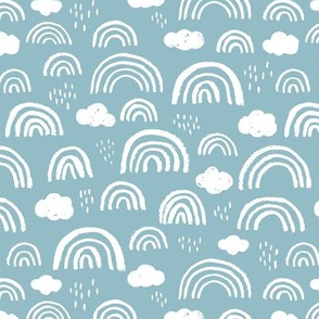 Scandinavian abstract rainbow clouds happy rain sky gender neutral soft baby blue boys