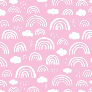 Scandinavian abstract rainbow clouds happy rain sky summer pink girls
