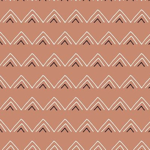 Geometric minimal triangles mudcloth abstract aztec design copper brown