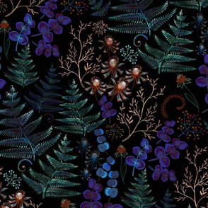 Moody florals with fern leaves