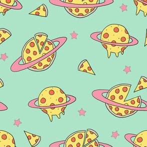 pizza planet fabric - pizza planet, pizza fabric, planet fabric, space fabric, cute kids fabric, novelty fabric - andrea lauren - mint