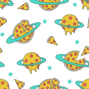 pizza planet fabric - pizza planet, pizza fabric, planet fabric, space fabric, cute kids fabric, novelty fabric - andrea lauren - white and turquoise