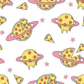 pizza planet fabric - pizza planet, pizza fabric, planet fabric, space fabric, cute kids fabric, novelty fabric - andrea lauren - white