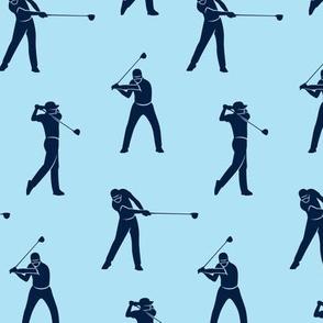 golfers - navy on blue - LAD19