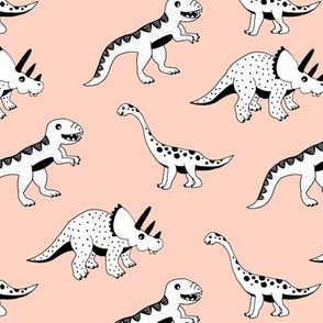 Cool dinosaur friends Scandinavian style vintage illustration kids history print peach pink girls