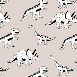 Cool dinosaur friends Scandinavian style vintage illustration kids history print beige gender neutral