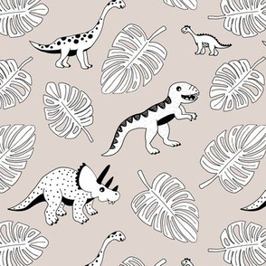 Cool jungle dinosaurs Scandinavian style vintage illustration kids history print gender neutral beige