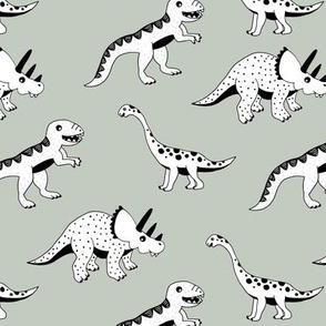 Cool dinosaur friends Scandinavian style vintage illustration kids history print moody green pastel