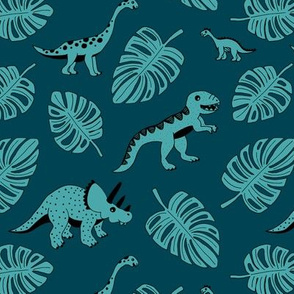 Cool jungle dinosaurs Scandinavian style vintage illustration kids history print dark blue night