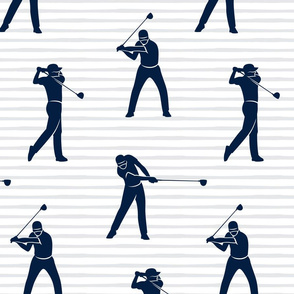 (jumbo scale) golfers - navy on grey stripes - LAD19