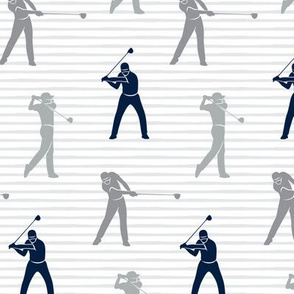 golfers - grey and navy on grey stripes - LAD19