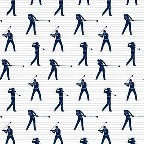 (small scale) golfers - navy on grey stripes - LAD19