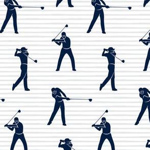 golfers - navy on grey stripes - LAD19