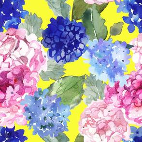 Spring Hydrangea Watercolor // Yellow