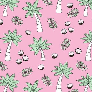 Tropical summer garden palm trees and coconuts surf beach theme pink mint
