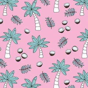 Tropical summer garden palm trees and coconuts surf beach theme pink blue girls