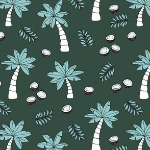 Tropical summer garden palm trees and coconuts surf beach theme green night blue