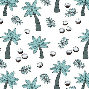 Tropical summer garden palm trees and coconuts surf beach theme blue green