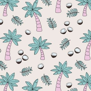 Tropical summer garden palm trees and coconuts surf beach theme pink mint soft girls