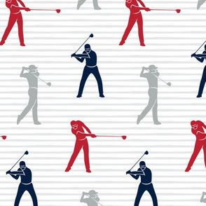 golfers - navy, blue, grey muticolored on stripes - LAD19