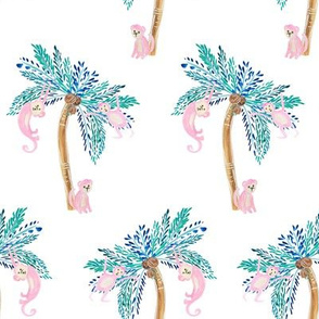 """8"""" Palm Trees with Monkeys Version 2"""