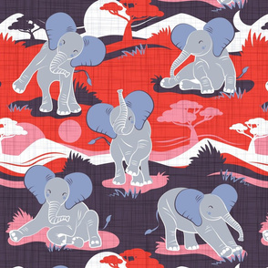 Baby African elephants joy night and day // red pink and violet