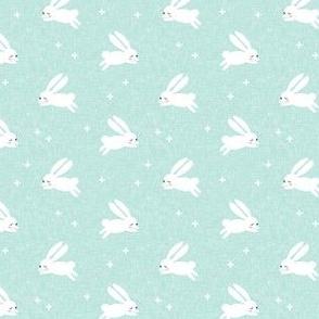 (small scale) bunnies on dark mint C19BS