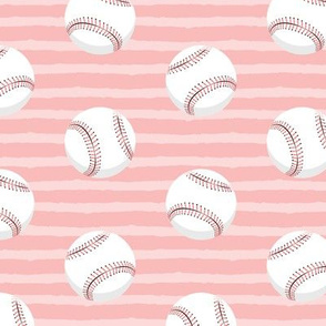 (large scale) baseballs - pink stripes C19BS
