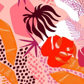 Tropical foliage - Pink, Red and aubergine Retro Boho