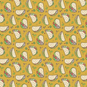 Tacos Food on Mustard Yellow Tiny Small 1 inch Rotated