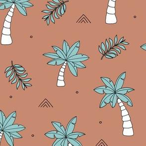 Tropical summer garden palm trees and coconuts surf beach theme blue aqua copper