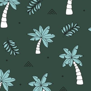 Tropical summer garden palm trees and coconuts surf beach theme green blue night