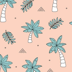 Tropical summer garden palm trees and coconuts surf beach theme peach blue