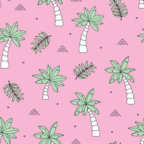 Tropical summer garden palm trees and coconuts surf beach theme pink girls