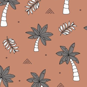 Tropical summer garden palm trees and coconuts surf beach theme copper blue boys