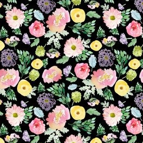 """4"""" Andalusia Spring Falling Florals Black"""